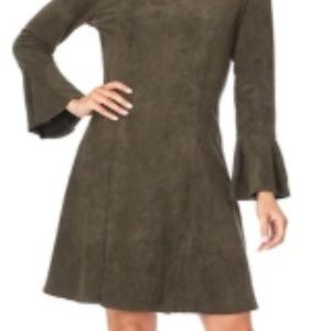 Aryeh Suede Olive Dress